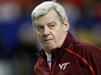 ATLANTA - DECEMBER 31:  Virginia Tech Hokies head coach Frank Beamer watches warmups on the field before the Chick-Fil-A Bowl against the Tennessee Volunteers at the Georgia Dome on December 31, 2009 in Atlanta, Georgia.  Virginia Tech beat Tennessee 37-1