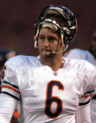 A displeased Jay Cutler walks the sidelines after being removed from the Browns/Bears game.