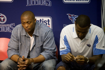 NASHVILLE, TN - JULY 6: Former Tennessee Titans players Eddie George (L) and Brad Hopkins attend a press conference in reaction to the death of former Titan star quarterback Steve McNair July 6, 2009 in Nashville, Tennessee.  McNair was found shot to deat