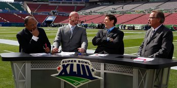 TAMPA, FL - FEBRUARY 01: (L-R) The ESPN pregame show with host Mike Tirico and analysts Trent Dilfer, Steve Young and Ron Jaworski before Super Bowl XLIII on February 1, 2009 at Raymond James Stadium in Tampa, Florida.  (Photo by Jamie Squire/Getty Images
