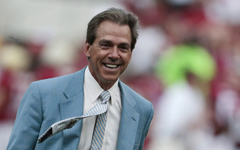 TUSCALOOSA, AL - APRIL 17: Coach Nick Saban of the Alabama Crimson Tide reacts during the Alabama spring game at Bryant Denny Stadium on April 17, 2010 in Tuscaloosa, Alabama. (Photo by Dave Martin/Getty Images)