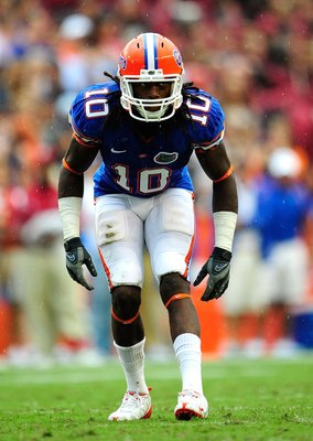 GAINESVILLE, FL - SEPTEMBER 12:  Will Hill #10 of the Florida Gators lines up during the game against the Troy Trojans at Ben Hill Griffin Stadium on September 12, 2009 in Gainesville, Florida.  (Photo by Sam Greenwood/Getty Images)