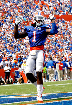 GAINESVILLE, FL - SEPTEMBER 04:  Janoris Jenkins #1 of the Florida Gators celebrates after a defensive stand against the Miami University RedHawks at Ben Hill Griffin Stadium on September 4, 2010 in Gainesville, Florida.  (Photo by Sam Greenwood/Getty Ima