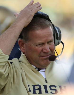 SOUTH BEND, IN - SEPTEMBER 04: Head coach Brian Kelly of the Notre Dame Fighting Irish watches as his team takes on the Purdue Boilermakers at Notre Dame Stadium on September 4, 2010 in South Bend, Indiana. Notre Dame defeated Purdue 23-12. (Photo by Jona