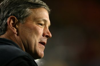 MIAMI GARDENS, FL - JANUARY 05:  Head coach Kirk Ferentz of the Iowa Hawkeyes coaches against the Georgia Tech Yellow Jackets during the FedEx Orange Bowl at Land Shark Stadium on January 5, 2010 in Miami Gardens, Florida. Iowa won 24-14.  (Photo by Marc 
