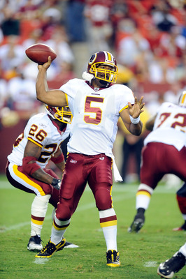 LANDOVER, MD - AUGUST 13:  Donovan McNabb #5 of the Washington Redskins throws a pass during the preseason game against the Buffalo Bills at FedEx Field on August 13, 2010 in Landover, Maryland.  (Photo by Greg Fiume/Getty Images)
