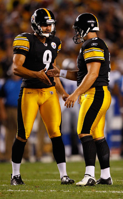 PITTSBURGH - AUGUST 14:  Daniel Sepulveda #9 of the Pittsburgh Steelers congratulates teammate Jeff Reed #3 after kicking a field goal against the Detroit Lions during the preseason game on August 14, 2010 at Heinz Field in Pittsburgh, Pennsylvania.  (Pho