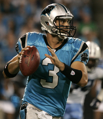 CHARLOTTE, NC - AUGUST 28:  Quarterback Matt Moore #3 of the Carolina Panthers looks to throw to his recievers during their preseason game against the Tennessee Titans at Bank of America Stadium on August 28, 2010 in Charlotte, North Carolina. (Photo by M