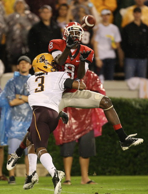 ATHENS, GA - SEPTEMBER 26: A. J. Green #8 of the Georgia Bulldogs goes up for a pass against Omar Bolden #3 of the Arizona State Sun Devils at Sanford Stadium on September 26, 2009 in Athens, Georgia. (Photo by Scott Cunningham/Getty Images)