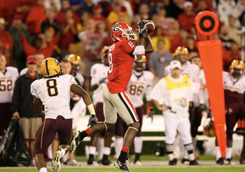 ATHENS, GA - SEPTEMBER 26: A. J. Green #8 of the Georgia Bulldogs makes a catch against the Arizona State Sun Devils at Sanford Stadium on September 26, 2009 in Athens, Georgia. (Photo by Scott Cunningham/Getty Images)