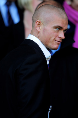 LIVERPOOL, ENGLAND - AUGUST 29:  Paul Konchesky is seen in the stands prior to the Barclays Premier League match between Liverpool and West Bromwich Albion at Anfield on August 29, 2010 in Liverpool, England. (Photo by Shaun Botterill/Getty Images)