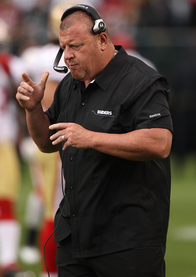 OAKLAND, CA - AUGUST 28:  Head coach Tom Cable of the Oakland Raiders looks on against the San Francisco 49ers during an NFL preseason game at Oakland-Alameda County Coliseum on August 28, 2010 in Oakland, California. (Photo by Jed Jacobsohn/Getty Images)