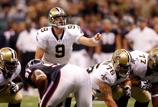NEW ORLEANS - AUGUST 21:  Drew Brees #9 of the New Orleans Saints in action against the Houston Texans at the Louisiana Superdome on August 21, 2010 in New Orleans, Louisiana.  (Photo by Chris Graythen/Getty Images)