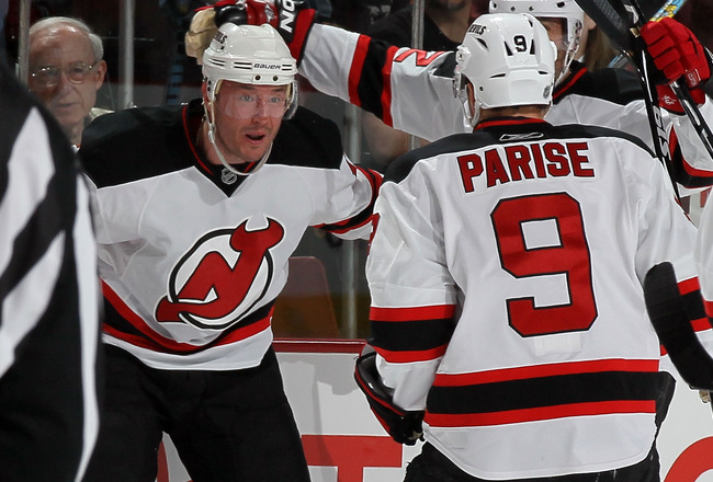 PHILADELPHIA - APRIL 20:  Ilya Kovalchuk #17 of the New Jersey Devils celebrates his first period goal against the Philadelphia Flyers with teammate Zach Parise #9 in Game Four of the Eastern Conference Quarterfinals during the 2010 NHL Stanley Cup Playof
