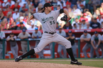 ANAHEIM, CA - JULY 13:  National League All-Star Josh Johnson #55 of the Florida Marlins throws a pitch during the 81st MLB All-Star Game at Angel Stadium of Anaheim on July 13, 2010 in Anaheim, California.  (Photo by Jeff Gross/Getty Images)
