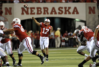 LINCOLN, NE - SEPTEMBER 04:  Cody Green #17 of the Nebraska Cornhuskers passes the ball down field against the Western Kentucky Hilltoppers during second half action at Memorial Stadium on September 4, 2010 in Lincoln, Nebraska.  (Photo by Eric Francis/Ge