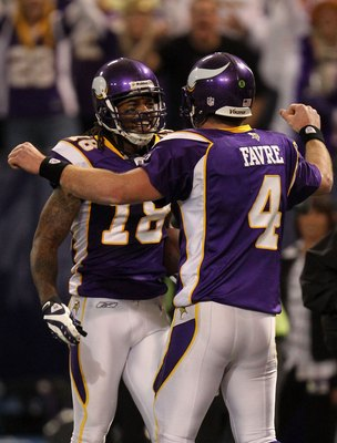 MINNEAPOLIS - JANUARY 17:  Quarterback Brett Favre #4 of the Minnesota Vikings congratulates wide receiver Sidney Rice #18 on his 45 yard touchdown against the Dallas Cowboys during the fourth quarter of the NFC Divisional Playoff Game at Hubert H. Humphr