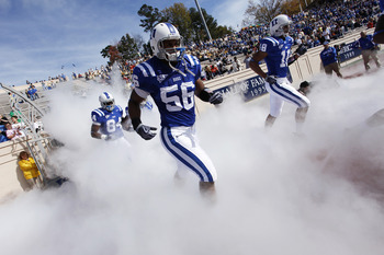 DURHAM, NC - NOVEMBER 14:  The Duke Blue Devils take the field before the game against the Georgia Tech Yellow Jackets at Wallace Wade Stadium on November 14, 2009 in Durham, North Carolina. (Photo by Joe Robbins/Getty Images)