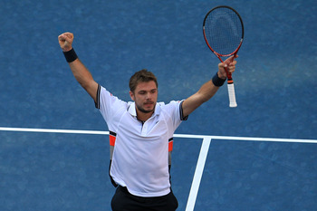 NEW YORK - SEPTEMBER 07:  Stanislas Wawrinka of Switzerland celebrates after defeating Sam Querrey of the United States during his men's singles fourth round match on day nine of the 2010 U.S. Open at the USTA Billie Jean King National Tennis Center on Se