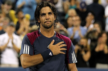 NEW YORK - SEPTEMBER 07:  Fernando Verdasco of Spain celebrates after he won his men's singles match agianst David Ferrer of Spain on day nine of the 2010 U.S. Open at the USTA Billie Jean King National Tennis Center on September 7, 2010 in the Flushing n