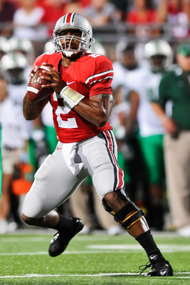 COLUMBUS, OH - SEPTEMBER 2: Terrelle Pryor #2 of the Ohio State Buckeyes drops back in the pocket against the Marshall Thundering Herd at Ohio Stadium on September 2, 2010 in Columbus, Ohio. (Photo by Jamie Sabau/Getty Images)
