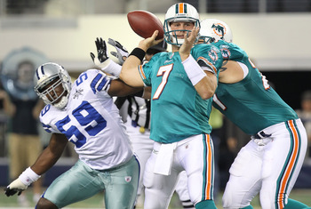 ARLINGTON, TX - SEPTEMBER 02:  Quarterback Chad Henne #7 of the Miami Dolphins drops back to pass against the Dallas Cowboys during a preseason game at Cowboys Stadium on September 2, 2010 in Arlington, Texas.  (Photo by Ronald Martinez/Getty Images)
