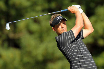 NORTON, MA - SEPTEMBER 06:  Luke Donald of England tees off from the 11th hole during the final round of the Deutsche Bank Championship at TPC Boston on September 6, 2010 in Norton, Massachusetts.  (Photo by Mike Ehrmann/Getty Images)