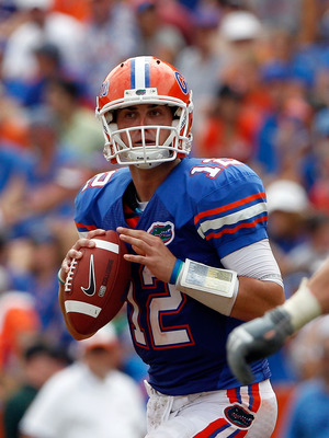 GAINESVILLE, FL - SEPTEMBER 04:  Quarterback John Brantley #12 of the Florida Gators attempts a pass against the Miami University RedHawks at Ben Hill Griffin Stadium on September 4, 2010 in Gainesville, Florida.  (Photo by Sam Greenwood/Getty Images)