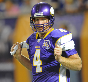 MINNEAPOLIS - SEPTEMBER 02:  Brett Favre #4 of the Minnesota Vikings stretches during warmups prior to an NFL preseason game against the Denver Broncos at the Mall of America Field at Hubert H. Humphrey Metrodome, on September 2, 2010 in Minneapolis, Minn