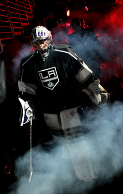 LOS ANGELES, CA - APRIL 25:  Goaltender Jonathan Quick #32 of the Los Angeles Kings leads his team onto the ice against the Vancouver Canucks before Game Six of the Western Conference Quarterfinals of the 2010 NHL Stanley Cup Playoffs on April 25, 2010 at