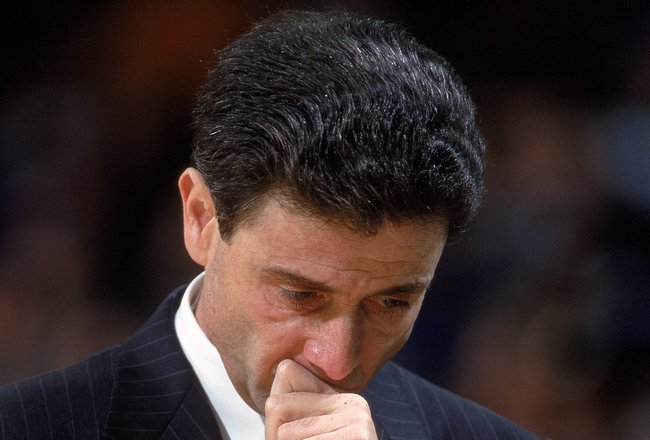 18 Feb 2000: Head Coach Rick Pitino of the Boston Celtics looks worried on the sidelines during a game against the Golden State Warriors at the Oakland Coliseum in Oakland, California. The Warriors defeated the Celtics 122-100.     Mandatory Credit: Jed J