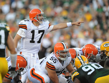 GREEN BAY - AUGUST 14: Jake Delhomme #17 of the Cleveland Browns calls out a play during the NFL preseason game against the Green Bay Packers at Lambeau Field August 14, 2010 in Green Bay, Wisconsin.  (Photo by Tom Dahlin/Getty Images)
