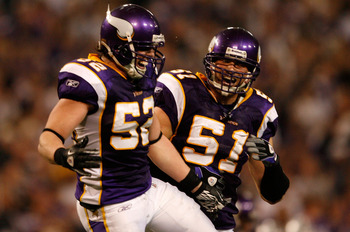 MINNEAPOLIS - JANUARY 17:  Linebackers Chad Greenway #52 and Ben Leber #51 of the Minnesota Vikings celebrate a play against the Dallas Cowboys during the fourth quarter of the NFC Divisional Playoff Game at Hubert H. Humphrey Metrodome on January 17, 201