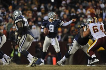 LANDOVER, MD - DECEMBER 27:  Tony Romo #9 of the Dallas Cowboys looks to pass during the game against the Washington Redskins at FedExField on December 27, 2009 in Landover, Maryland. The Cowboys defeated the Redskins 17-0. (Photo by Larry French/Getty Im
