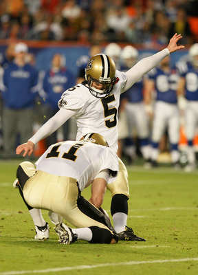 MIAMI GARDENS, FL - FEBRUARY 07: Garrett Hartley #5 of the New Orleans Saints kicks a field goal in the second quarter against the Indianapolis Colts during Super Bowl XLIV on February 7, 2010 at Sun Life Stadium in Miami Gardens, Florida.  (Photo by Andy