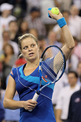 NEW YORK - SEPTEMBER 07:  Kim Clijsters of Belgium celebrates after she won her women's singles match against Samantha Stosur of Australia in the second set during day nine of the 2010 U.S. Open at the USTA Billie Jean King National Tennis Center on Septe
