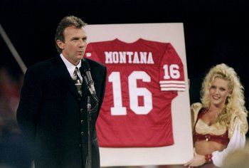 15 Dec 1997:  Former quarterback Joe Montana of the San Francisco 49ers has his jersey retired during the 49ers 34-17 win over the Denver Broncos at 3Com Park in San Francisco, California. Mandatory Credit: Todd Warshaw  /Allsport
