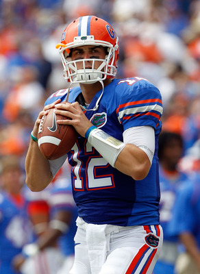 GAINESVILLE, FL - SEPTEMBER 04:  Quarterback John Brantley #12 of the Florida Gators attempts a pass prior to the game against the Miami University RedHawks at Ben Hill Griffin Stadium on September 4, 2010 in Gainesville, Florida.  (Photo by Sam Greenwood