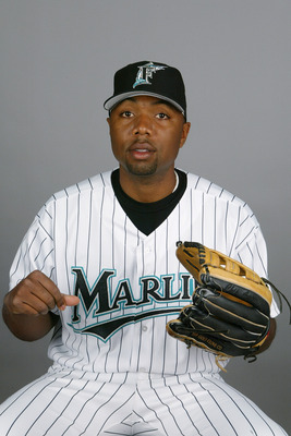 JUPITER, FL - FEBRUARY 28:  Outfielder Chip Ambres #62 #64 of the Florida Marlins during photo day February 28, 2004 at Roger Dean Stadium in Jupiter, Florida. (Photo by Eliot J. Schechter/Getty Images)