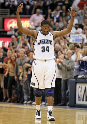 SALT LAKE CITY - APRIL 25:  C.J. Miles #34 of the Utah Jazz celebrates against the Denver Nuggets during Game Four of the Western Conference Quarterfinals of the 2010 NBA Playoffs at EnergySolutions Arena on April 25, 2010 in Salt Lake City, Utah.The Jazz