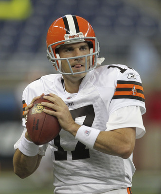 DETROIT - AUGUST 28: Jake Delhomme #17 of the Cleveland Browns warms up prior to the start of the preseason game against the Detroit Lions at Ford Field on August 28, 2010 in Detroit, Michigan. (Photo by Leon Halip/Getty Images)