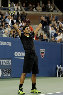 NEW YORK - SEPTEMBER 09:  Rafael Nadal of Spain celebrates after defeating against Fernando Verdasco of Spain during his men's single quarterfinal match on day eleven of the 2010 U.S. Open at the USTA Billie Jean King National Tennis Center on September 9