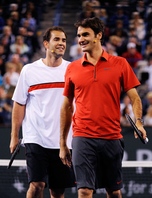 INDIAN WELLS, CA - MARCH 12:  Former tennis player Pete Sampras and Roger Federer of Switzerland,during Hit for Haiti, a charity event during the BNP Paribas Open on March 12, 2010 in Indian Wells, California.  (Photo by Kevork Djansezian/Getty Images)