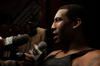 PHOENIX - MAY 29:  Amar'e Stoudemire #1 of the Phoenix Suns is interviewed in the locker room after the suns were eliminated from the 2010 NBA Playoffs by the Los Angeles Lakers 111-103 in Game Six of the Western Conference Finals at US Airways Center on