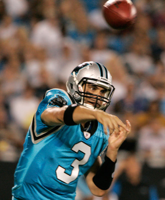 CHARLOTTE, NC - AUGUST 28:  Quarterback Matt Moore #3 of the Carolina Panthers throw to his reciever during their preseason game against the Tennessee Titans at Bank of America Stadium on August 28, 2010 in Charlotte, North Carolina. (Photo by Mary Ann Ch