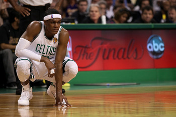 BOSTON - JUNE 13:  Rajon Rondo #9 of the Boston Celtics looks on in the fourth quarter during Game Five of the 2010 NBA Finals against the Los Angeles Lakers on June 13, 2010 at TD Garden in Boston, Massachusetts. NOTE TO USER: User expressly acknowledges