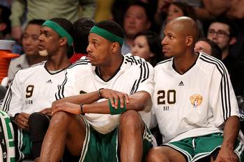 LOS ANGELES, CA - JUNE 15:  (L-R) Rajon Rondo #9, Paul Pierce #34 and Ray Allen #20 of the Boston Celtics sit on the bench during the Celtics' loss to the Los Angeles Lakers in Game Six of the 2010 NBA Finals at Staples Center on June 15, 2010 in Los Ange