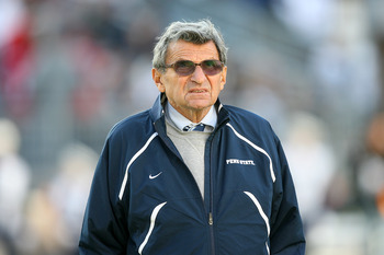 STATE COLLEGE, PA - NOVEMBER 7: Head coach Joe Paterno of the Penn State Nittany Lions stands on the field during warm-ups before a game against the Ohio State Buckeyes on November 7, 2009 at Beaver Stadium in State College, Pennsylvania. (Photo by Hunter
