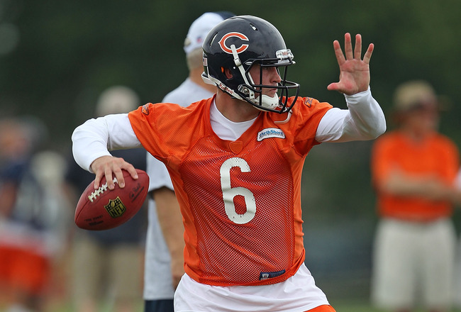 BOURBONNAIS, IL - JULY 30: Jay Culter #6 of the Chicago Bears passes the ball during a summer training camp practice at Olivet Nazarene University on July 30, 2010 in Bourbonnais, Illinois. (Photo by Jonathan Daniel/Getty Images)