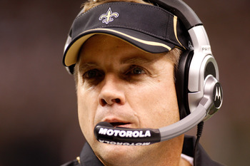 NEW ORLEANS - SEPTEMBER 09:  Head coach Sean Payton of the New Orleans Saints looks on against the Minnesota Vikings at Louisiana Superdome on September 9, 2010 in New Orleans, Louisiana.  (Photo by Chris Graythen/Getty Images)